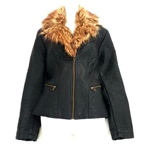 Vegan Leather Moto Jacket w/Removable Fur Collar